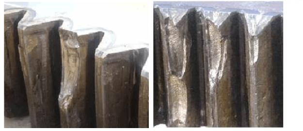 excavator slewing ring gear teeth broken