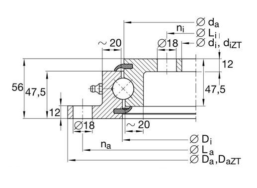 VLU200414 slewing bearings structure