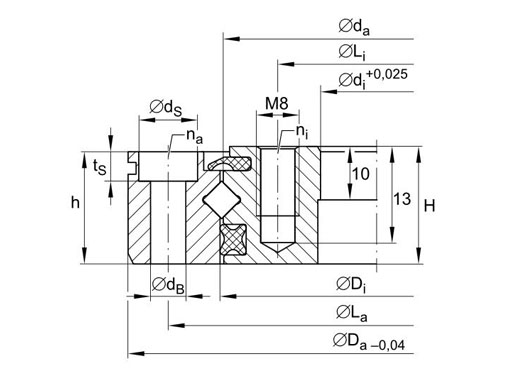 XU060094 crossed roller bearing structure