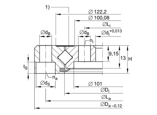 XU060111 crossed roller bearing structure