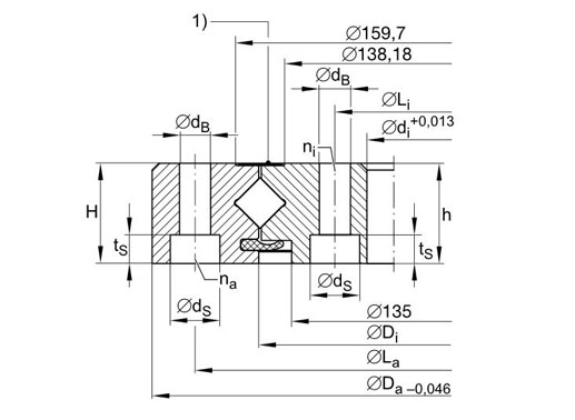 XU080149 crossed roller bearing structure