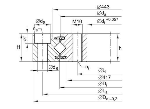 XU080430 crossed roller bearing structure